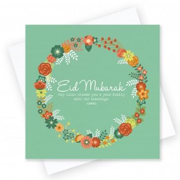 Eid Mubarak Green Wreath Greeting Card