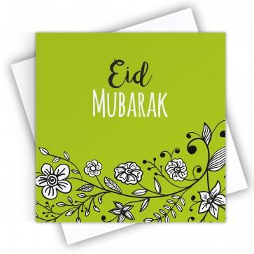Eid Mubarak Floral Green Greeting Card