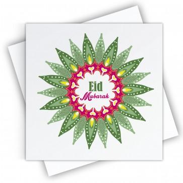 Eid Mubarak Green Mandala Greeting Card