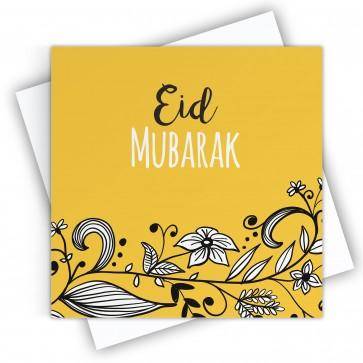 Eid Mubarak Floral Yellow Greeting Card