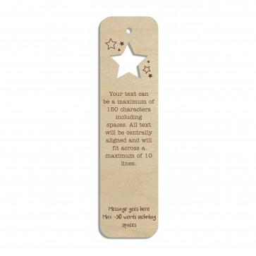 Stars Custom Engraved Wooden Bookmark