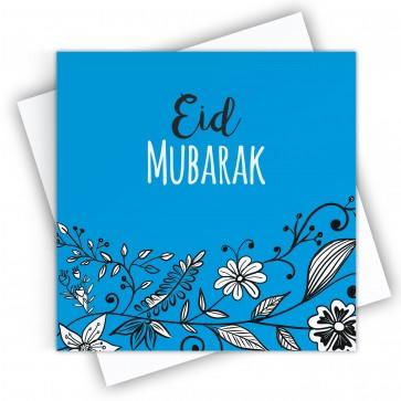 Eid Mubarak Floral Blue Greeting Card