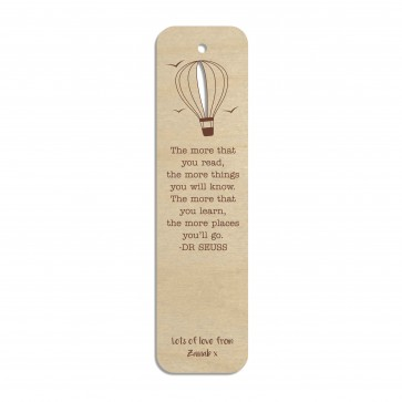 Hot Air Balloon Custom Engraved Wooden Bookmark