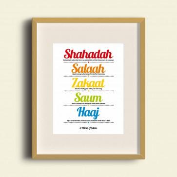 5 Pillars of Islam - Poster Print