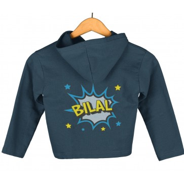 Personalised Comc Pow Girl's & Boy's Toddler Hoodie Arabic & English Name