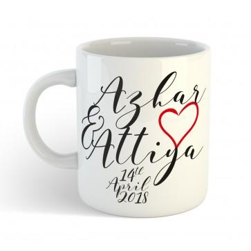 Personalised Couple Wedding Anniversary Gift Mug with custom message