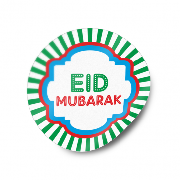 Eid Mubarak Round Sticker Label