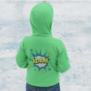 Personalised Comic Pow Girl's & Boy's Hoodie Arabic & English Name