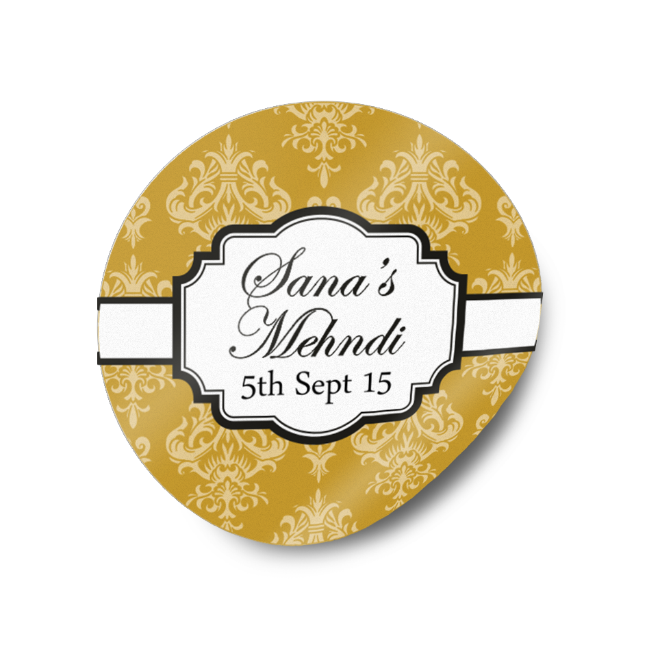 Mehndi wedding favour gift sticker labels
