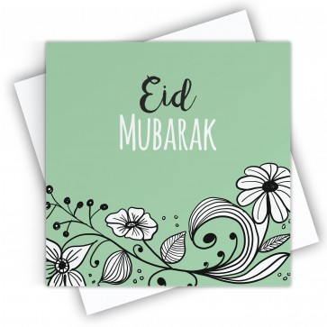 Eid Mubarak Floral Garden Green Greeting Card