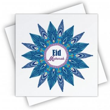 Eid Mubarak Blue Mandala Greeting Card