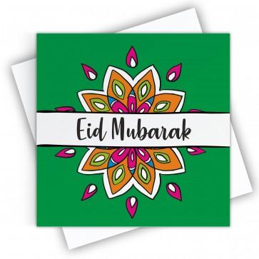 Eid Mubarak Emerald  Green Greeting Card