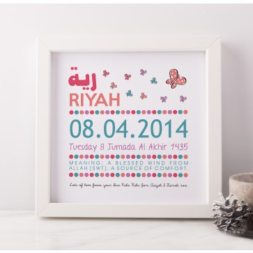 Personalised Birth Butterfly Frame Art