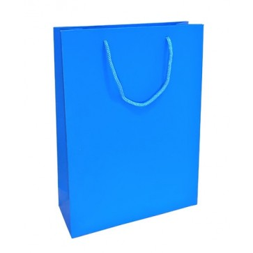 Blue matt laminated rope handled gift bag