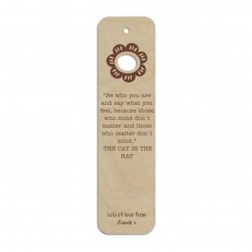 Flower Custom Engraved Wooden Bookmark