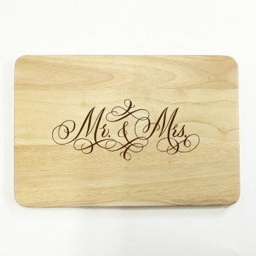 Mr & Mrs - Personalised Wooden Chopping Board - Wedding Anniversary Gift