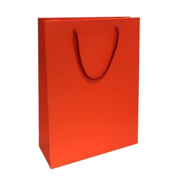 Red matt laminated rope handled gift bag