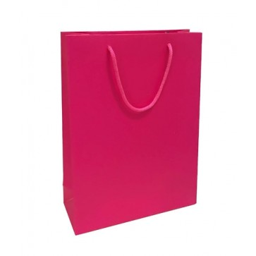 Pink matt laminated rope handled gift bag
