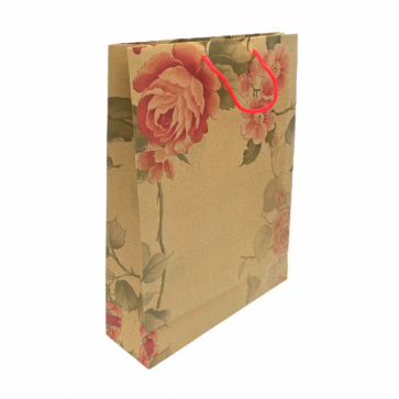 Tall cream floral craft gift bag