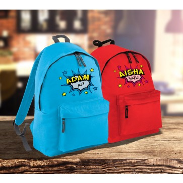 Personalised Comic Pow Backpack