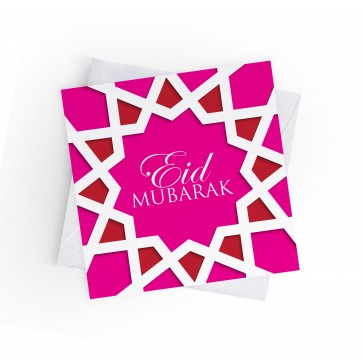 EID MUBARAK - ISLAMIC GEOMETRIC - FUCHSIA PINK - GREETING CARD