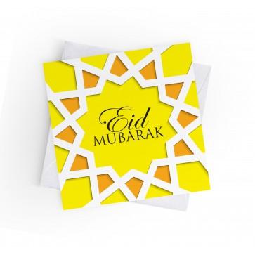 EID MUBARAK - ISLAMIC GEOMETRIC - YELLOW - GREETING CARD