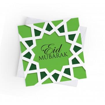 EID MUBARAK - ISLAMIC GEOMETRIC - GREEN - GREETING CARD