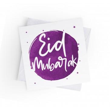 EID MUBARAK - INKED BURST - PURPLE - GREETING CARD