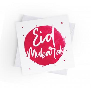 EID MUBARAK - INKED BURST - CERISE - GREETING CARD