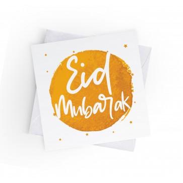 EID MUBARAK - INKED BURST - MUSTARD - GREETING CARD