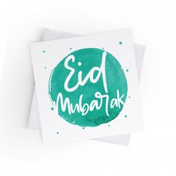 EID MUBARAK - INKED BURST - TURQUOISE - GREETING CARD