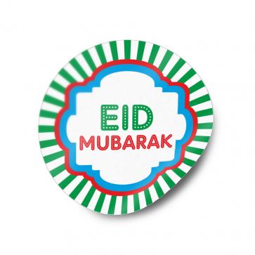 Eid Mubarak Round Sticker Label