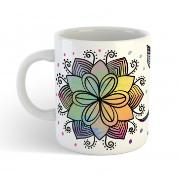 Personalised Henna Floral Name Gift Mug with custom message
