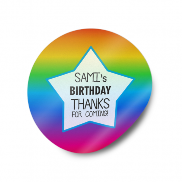 Rainbow Party Favour Gift Sticker Personalised Labels