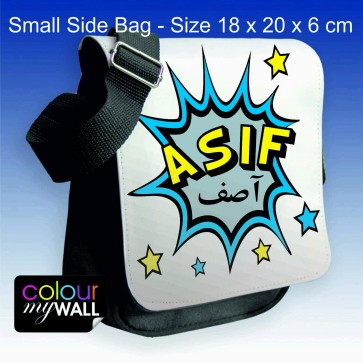 Personalised Girl's & Boy's Small Side Shoulder Bag with Arabic & English Name