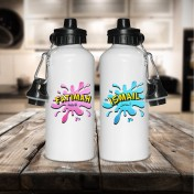 Personalised Splash Arabic & English Name Aluminium White Water Bottle